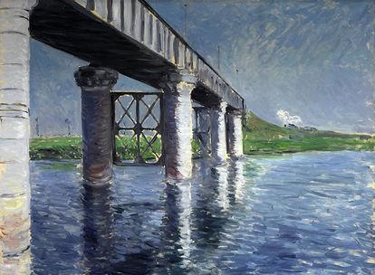 Obra de arte O Rio Sena e a Ponte Férrea em Argenteuil de Gustave Caillebotte